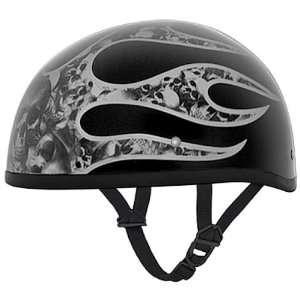 Multi Skull Flames Beanie DOT Motorcycle Skull Cap Half Helmet [Large