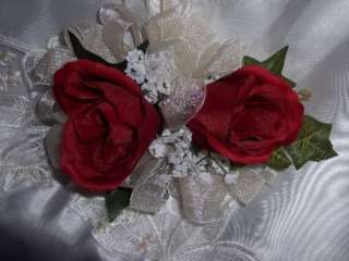Silk Rose Buds Wrist or Pin Corsage   Dark Red Wedding Prom Parties