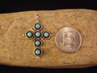 Zuni Indian Turquoise Cross Pendant 6 Stones Wow