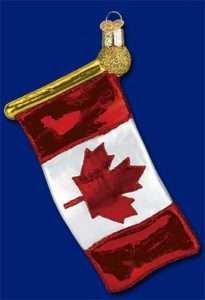 Canadian Flag Old World Christmas Glass Ornament