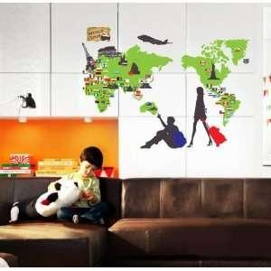 World Map Peel & Stick Wall Mural Deco STICKER ECO 034