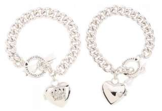 NIB JUICY COUTURE Bow Toggle Heart Locket Charm Bracelet Come w/ Gift