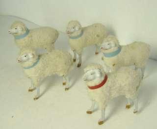 antique German Putz wooly wooden leg sheep c. 1900
