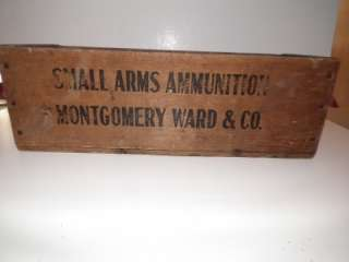MONTGOMERY WARD & CO. WOODEN AMMO BOX SMALL ARMS AMMUNITION VERY RARE