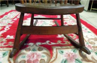 UNIQUE, VERY OLD ANTIQUE, SOLID WOOD, CURVED LUMBAR PORCH ROCKER