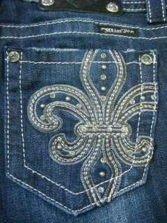 NWT MISS ME Dark Blue Super Cute Crysals Fleur Jeans