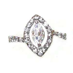 Just Give Me Jewels Sterling Silver Plated Open Marquise Cut Cubic