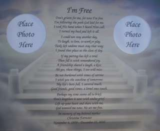PERSONALIZED MEMORIAL POEM DONT GRIEVE FOR ME IM FREE GIFT LOSS OF