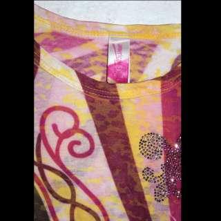 American Twist Colorful Long Sleeve Womens Shirt, Top Size M Fleur