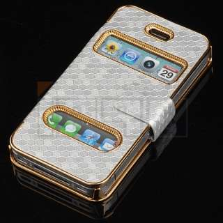 Gold Luxury Synthetic Leather Magnetic Flip Chrome Case Cover for