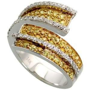 14k White Gold Wave Ring, w/ 0.38 Carat Brilliant Cut Diamonds & 1.09