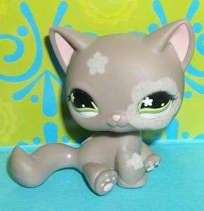 Littlest Pet Shop~#467 GRAY FUZZY FLOWER KITTY CAT~J116 LPS