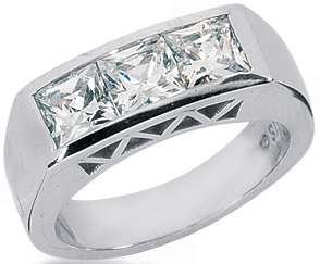 STONE Princess Cut DIAMOND ENGAGEMENT Ring WEDDING Anniversary Band