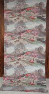 VTG COUNTRY FARM SCENIC BARKCLOTH FABRIC DRAPE GRANDMA MOSES BARN