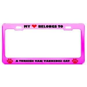 A Turkish Van/ Vankedisi Cat Pet Pink Metal License Plate