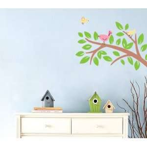 Kids Tree Branch Vinyl Wall Decal with 4 Penelope Birds