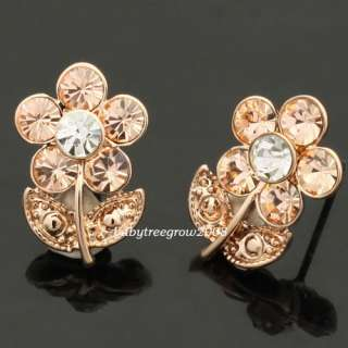 18K Rose Gold GP Swarovski Crystal Flower Stud Earring 620