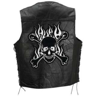Mens Black Leather Flaming Vest Skull Crossbones Patch