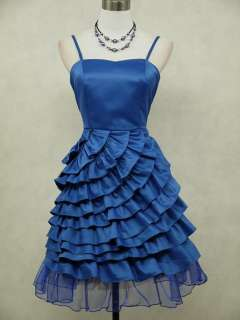 Cherlone Satin Blue Ruffle Cocktail Party Prom Ball Evening Dress UK