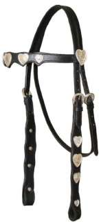 Silver Heart Leather Horse Headstall Reins CobRetail$69