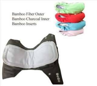 10 Organic Bamboo Baby Cloth Diapers + 10 Bamboo Inserts+ 2 FREE Bags