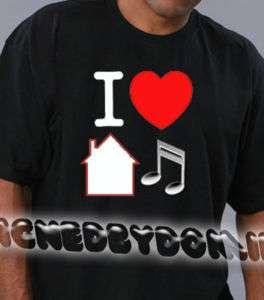 Love House Music BLACK Tee Shirt Dance Club garage