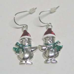 White Gold Plating Base Metal Christmas Snowman Earring Jewelry