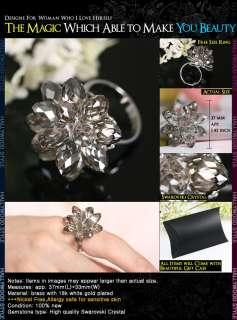 White Gold Plated Use SWAROVSKI Crystal Adjustable Ring R010