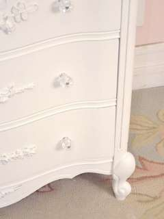 Bedroom on Shabby French Cottage Chic White Bedroom Dresser Highboy 5 Drawers