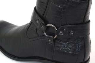 Mens Boots Dress Leather Shoes Zipper Buckle Straps Biker Riding