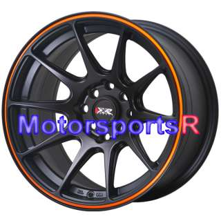527 Black Orange Stripe Concave Rims Wheels 4 lugs Nissan 240sx