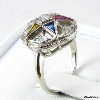 Order of the Eastern Star OES Diamond RING   14k White Gold A+ Syn