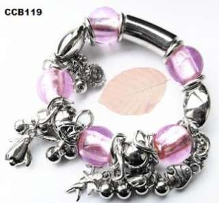 Pink Flowers Fashion Silver Line Bracelet, Christmas Birthday Gift for