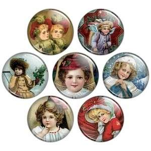 Girls 1 1/4 Buttons Badges OR Magnets, Pinback Pins Pretty Children