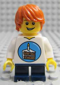 NEW Lego City Male MINIFIG BOY w/Birthday Cake Shirt