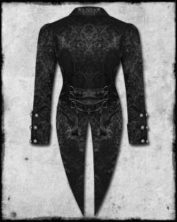 SOULS BLACK GOTH STEAMPUNK FLOCK DAMASK SKULL CORSET TAILCOAT JACKET