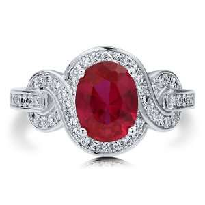 Oval Cut Ruby Cubic Zirconia CZ Sterling Silver Fancy Cocktail Ring