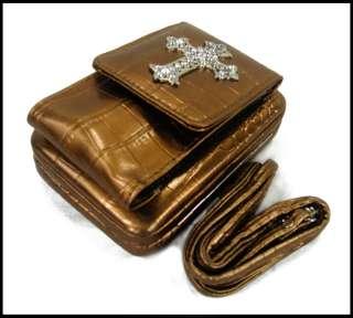 Fashion Womens Croc Leather Rhinestone Cross Wallet Pocket Bronze A51