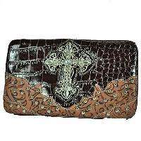 BROWN 2 TONE CROC RHINESTONE CROSS WESTERN PURSE FLAT WALLET