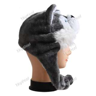 Cartoon Style Animal Wolf Winter Ear Flap Hat Fluffy Plush Cap NCP