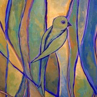 ORIGINAL Modern CONTEMPORARY Abstract BIRD PAINTING ART Blue Green