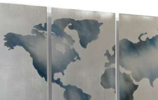 Abstract Metal Wall Art Contemporary Modern World Map Wall Decor Ash