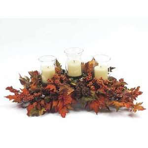 , Berry & Acorn Triple Pillar Candle Holder Thanksgiving Centerpiece