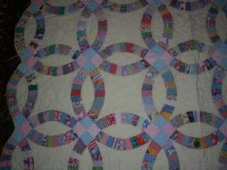 Double Wedding Ring Quilt Hand Made Magnificent Vintage Quilt