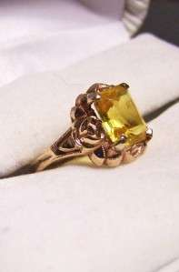 CITRINE RING SOLID GOLD ART DECO RING 13TH WED ANNIV NOV B.DAY