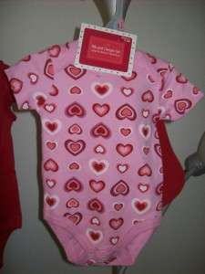 Girl My First Valentines Day Outfit Onesie Creeper Bib SET Red Hearts