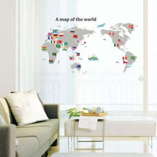 Map of the World Wall STICKER Removable Adhesive Decal