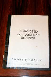Proceed Compact Disc Transport Owners Manual *Original*