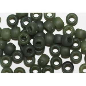 GREEN MATTE FROSTED CROW BEADS PONY BEADS: Arts, Crafts & Sewing