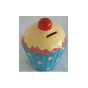 Ceramic Blue Cupcake Money & Coin Bank